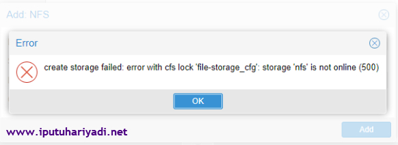 Troubleshooting NFS storage is not online (500) di Proxmox VE 5 2
